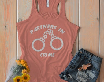 Partners In Crime Best Friend Tank Tops - Handcuff Tanks Besties Hand Cuffs Handcuffs Matching Top