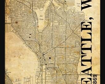 Seattle City Map - Seattle Street Map Vintage - Tile Map - Sepai Grunge Vintage