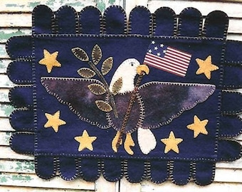 The Country Cupboard Primitive Folk Art Americana Eagle Penny Rug Hooked Rug E-Pattern PDF Instant Download
