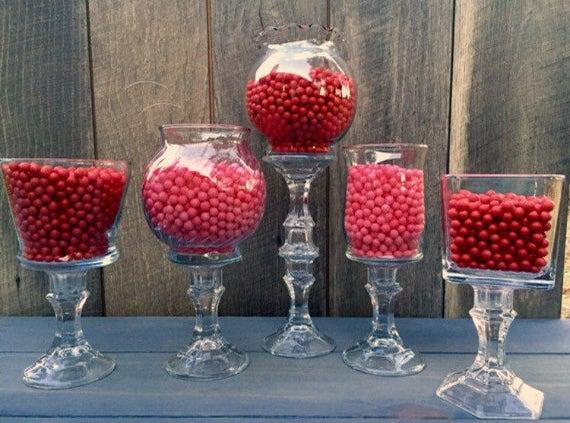 Favorite Set of 5 Glass Candy Buffet Jars Candy Jars Candy Buffet OZ63