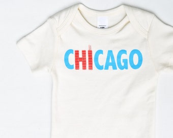 Hi from Chicago - Chicago baby gift, gender neutral baby bodysuit, organic, eco-friendly clothing, Chicago gift, Chicago baby, Chicago Pride