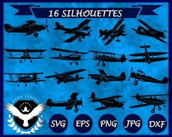 16 Biplane Silhouette | Biplane Clipart | Biplane Vector | Biplane SVG | Airplane | Airplane Silhouette | Airplane Clipart | Airplane SVG