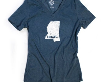 Mississippi Women's Local Relaxed Fit V-Neck, Heather Slate