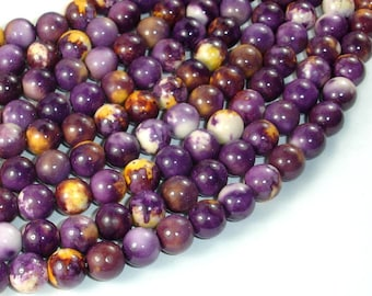 Rain Flower Stone Beads, Purple, Yellow, 8mm (8.5mm) Round Beads, 15.5 Inch, Full strand, Approx 48 beads, Hole 1mm, A quality (377054026)