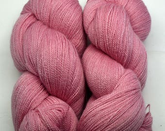 Hand dyed MERINO SILK LACE with natural colours, 100g-800 m, pink cyclamen