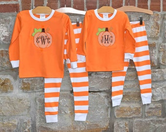 Halloween Pumpkin Monogram Pajamas - Halloween Pjs - Fall Pumpkin Pajamas  - Personalized Fall Pajamas  - JULIANNE ORIGINALS