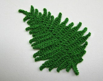 "1pc 6"" Very Complex FERN LEAF Crochet Applique"
