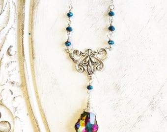 Art Nouveau Swarovski Crystal Necklace Gifts for Her by MinouBazaar