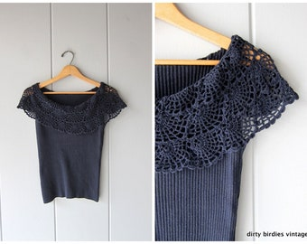 Navy Blue Ribbed Top | 90s Crochet Bib Blouse | Basic Ribbed Tank Top | Minimal Modern Shell Tank Vintage Womens Large