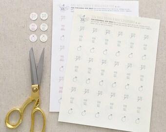 "She Said Yes! Sticker Set | 0.75"" | Printable Sticker Template Set OR Print Order | Order Minimum of 102"