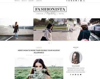 Wordpress theme - Wordpress Template - Feminine wordpress theme - Responsive WordPress Theme - Blog template - Fashionista
