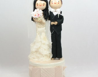 Custom Wedding Cake Topper with 1x DIMENSIONAL HAIR and 1x CUSTOM Clothing