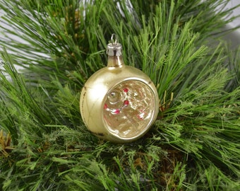 Vintage Hand Blown Single Indent Glass Christmas Ornament