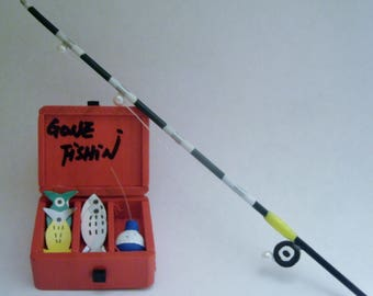 Tackle Box and Fishing Pole Set - Fairy Garden - Miniature Garden - Camping - Outdoors - Dollhouse Accessories