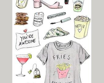 Fries before guys card / heartbreak / breakup / cheer up / you're awesome/friendship/feeling down/selfcare/break up survival plan /divorse