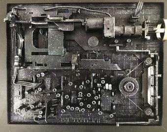 Equipment- mixed media framed 23cm x 28cm