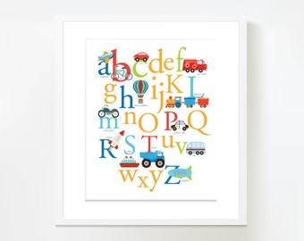 Vehicles ABC theme Wall Art - Instant Download, DIY Wall Art, car, airplane, truck and more