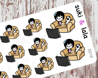 TV Night stickers, TV Planner Stickers, Planner Stickers, Kawaii Stickers, Watch TV Stickers, Popcorn Planner stickers (S016)