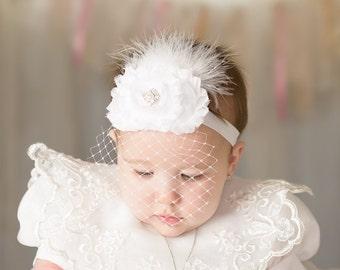 Baby Baptism Headband .. Shabby Chic ..   Vintage Christening Headband .. Birdcage Veil .. Shabby Roses Pearls