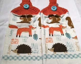 Hedgehog, Fox, Hand or Kitchen towels set of 2