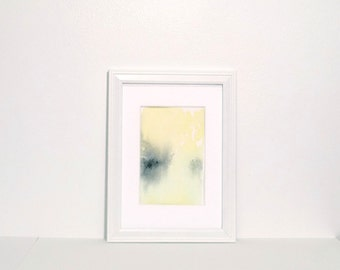 Small Abstract Painting - Yellow, green,  grey abstract landscape with watercolor, original painting 3x5