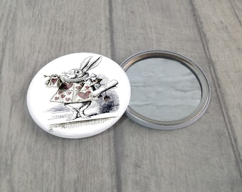 White Rabbit Pocket Mirror / Rabbit Purse Mirror / Makeup Mirror / Alice In Wonderland / Stocking Filler / Party Favour / Handbag Mirror