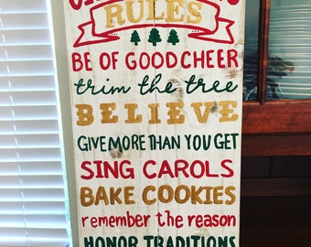 Christmas Rules Sign