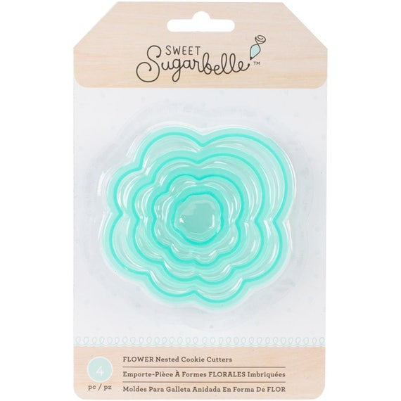 Four piece nested flower cookie cutters a set of Sweet Sugarbelle shape shifters cookie cutters