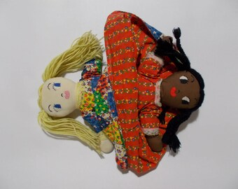 Topsy Turvy Cloth Rag Doll Black White Calico Dress Yellow Hair African American Handmade Country Vintage