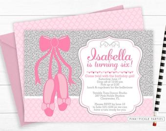 Ballerina Invitation, Ballerina Birthday Invitation, Ballerina, Ballerina Invites, Party Invitation,Ballet Invitation,Dance Invitation | 297
