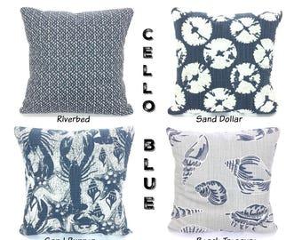 Nautical Pillow Covers Navy Blue Tan Decorative Throw Pillows Cushions Cello Blue Slub Canvas Faded Denim Lobster Sand Dollar Various Sizes