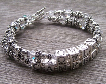 Custom Made Personalized 2 Strand Mothers Grandmothers  Name Bracelet with Sterling Swarovski