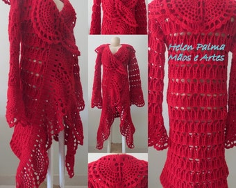 Long jacket in crochet handmade