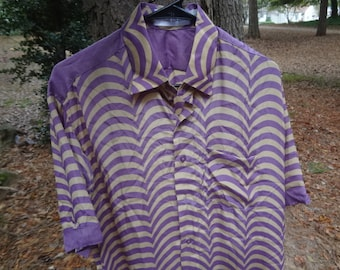 Men's Handmade Indian Sari Silk Button Down Dress Shirt - Father Son Matching - Purple and Tan - Slight Seconds - Jemond G705