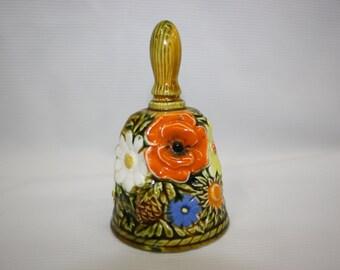 Inarco Ceramic Bell 1960's Japan Vintage Bell Flower Design