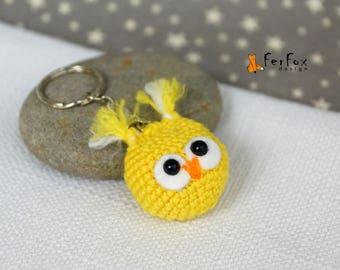 Owl keychain Plush owl key ring Cute owl bag charm Owl keyring Owlet key fob Animal keychain Animal lover gift Stuffed owl handbag accessory