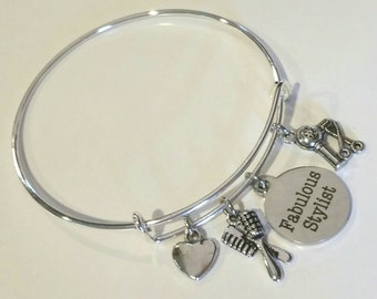 Bangle bracelet - charm bracelet - hair cut and style - The gift for the Fabulous Stylist that keeps you looking great all year long!
