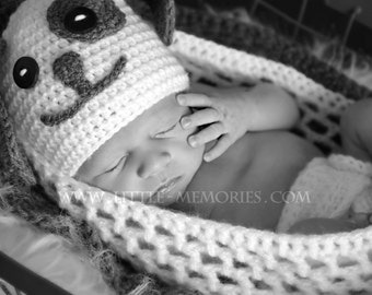 Newborn Baby PUPPY DOG Crochet Hat Photo Prop