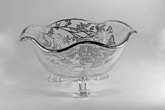 3 Toed Candy Bowl, Silver City, Flanders-Clear, Sterling Silver Overlay, Ruffled Edge