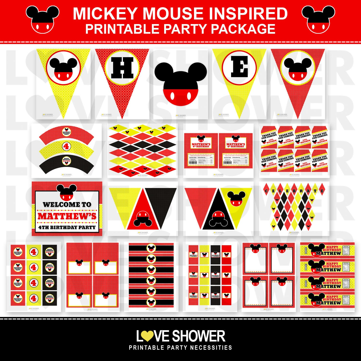 Mickey Mouse Disney Inspired Birthday Party Printables Big