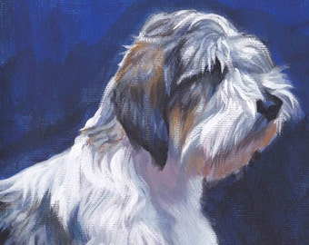 "PBGV Petit Basset Griffon Vendeen portrait CANVAS print of LA Shepard painting 12x12"" dog art"