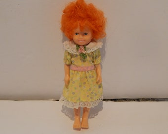 Vintage Knickerbocker World of Annie Annie Doll  Wearing her Yellow Floral Party Dress 1980s