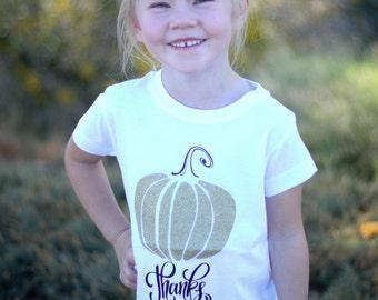 Thanks Giving Gold Pumpkin Girl's Shirt
