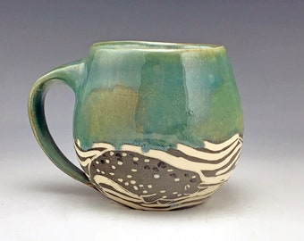 Handmade Sgraffito Narwhal Pottery Mug in Blue White and Gray