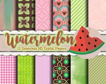 Watermelon Print Paper - Watermelon Paper, Watermelon Papers, Watermelon Print Papers, Watermelon Scrapbook, Scrapbook Papers, Printable