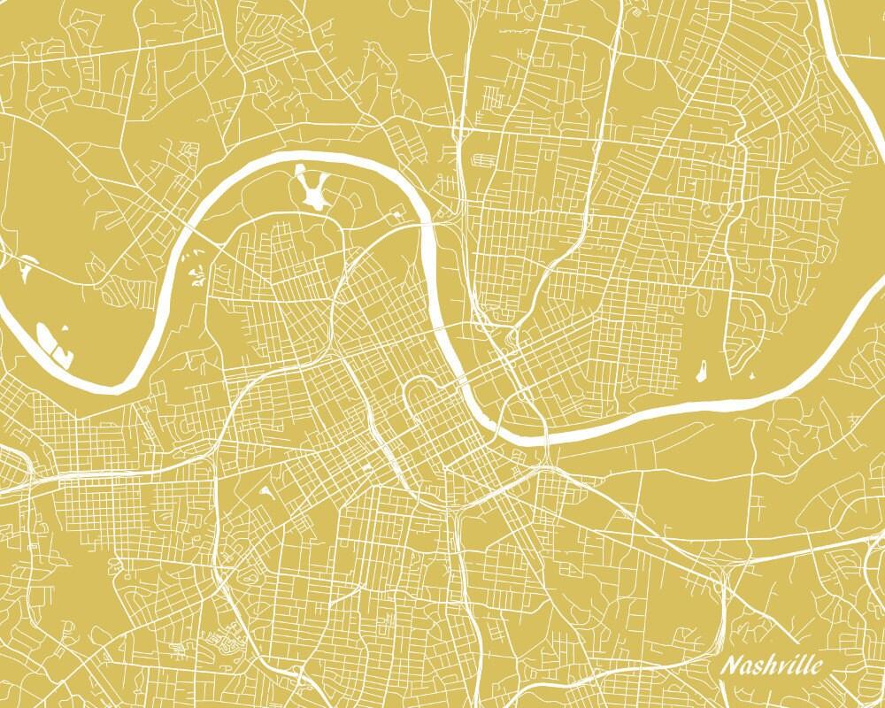 Nashville Street Map Print Tennessee City Street Map Poster