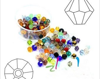 200pcs bicone beads 4mm faceted bicone crystal glass beads (63 colors in stock)
