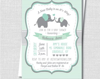 Green Elephant Baby Shower Invite - Neutral Baby Shower - Digital Design or Printed Invitations - FREE SHIPPING