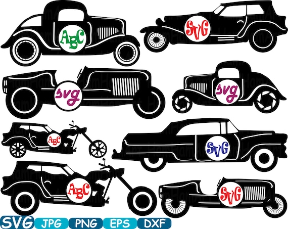 Circle Vintage Sport Cars Monogram Cutting Files Digital Svg Eps Png Dxf Jpg Vinyl Clip Art Antique Car ClipArt Retro Old 331S From HamHamArt On Etsy