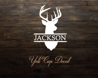 Yeti Cup Decal, Monogram Decal, Personalized Sticker, Men Cup Decal, Buck Deer, Stag, RTIC Cup Sticker, Tumbler, Personalized Monogram Decal